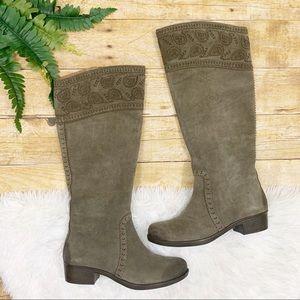 Nurture • Tan Suede Paisley Knee-High Boots